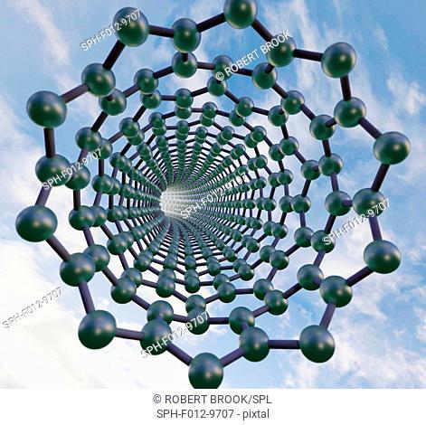 Graphene nanotube, molecular model