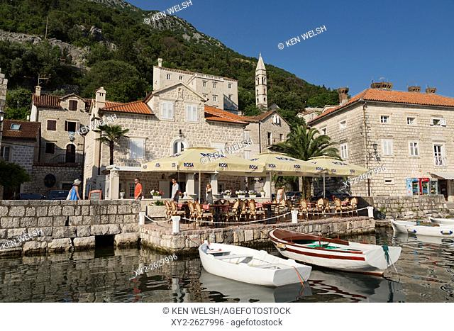 Perast, Kotor, Montenegro. View of the town on the Bay of Kotor