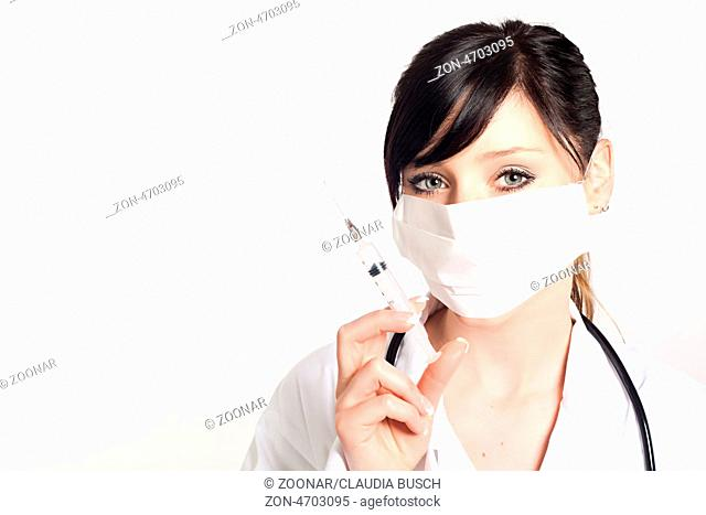 portrait of woman doctor with a syringe, isolated on white background