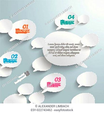 Bevel Speech Bubbles White Opinion Infographic Design