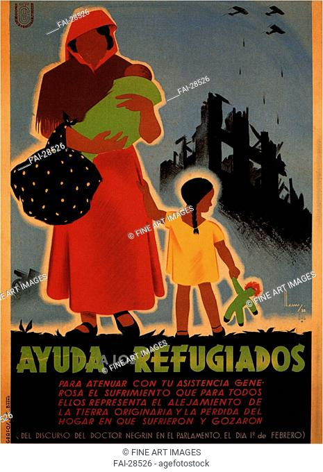 Aid to refugees by Ballestreros, Henry (active 1930s)/Colour lithograph/Social and political posters/1938/Spain/Private Collection/100x70/Poster and Graphic...