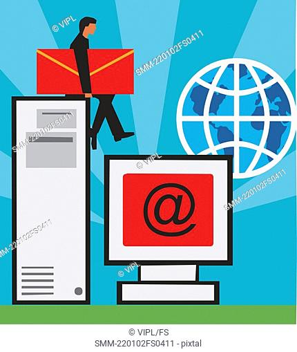 Computer, C P U  and globe with man holding envelop