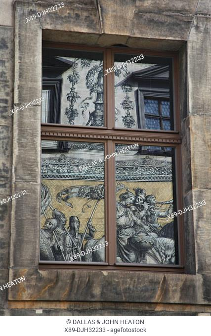 Germany, Saxony, Dresden, Old Town, Procession of Princes, Meissen Porcelain Tiles, Reflection in Door Window