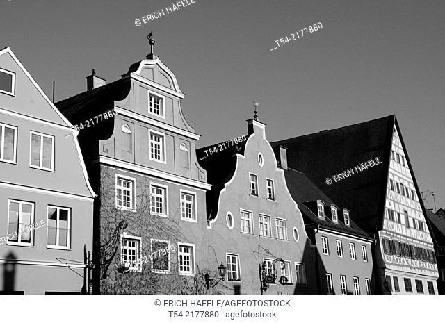 Old houses on the wine market in Memmingen / Memmingen, Germany
