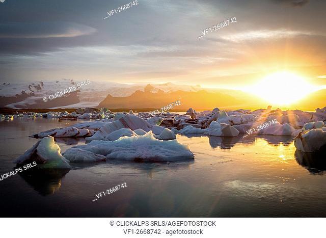 Iceland, Jokulsarlon Glacier Lagoon after a stunning sunset