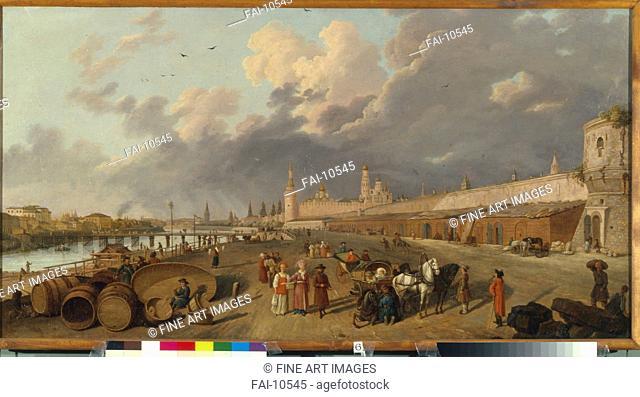 View of the Moskvoretsky bridge und the Kremlin. Barthe, Gérard, de la (active 1787-1810). Oil on canvas. French Painting of 18th cen. . 1790s
