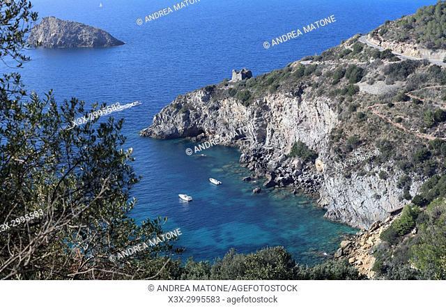 Cala dei Gessi beach. Porto Santo Stefano riviera. Beach Tuscany Italy