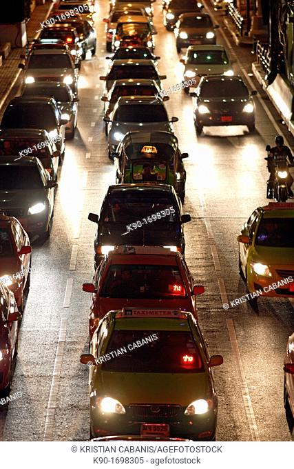 Heavy traffic seen from above on Ploenchit Road, Central Business District of Bangkok, Thailand, Southeast Asia