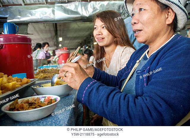 Breakfast at the morning market in Mae Hong Son, Thailand
