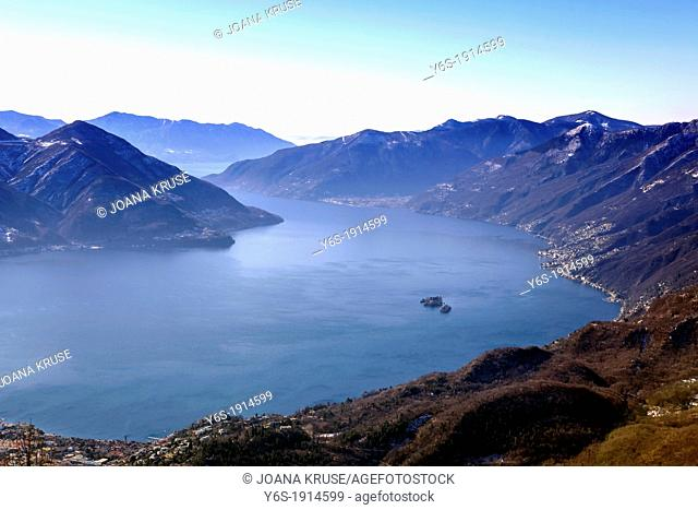 view on the Lake Maggiore with the Brissago islands from Cardada, Ticino, Switzerland