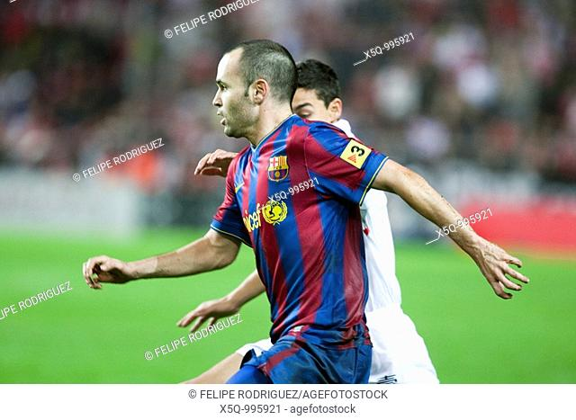 Close-up of Andres Iniesta  Spanish Cup game between Sevilla FC and FC Barcelona, Ramon Sanchez Pizjuan stadium, Seville, Spain, 13 January 2010