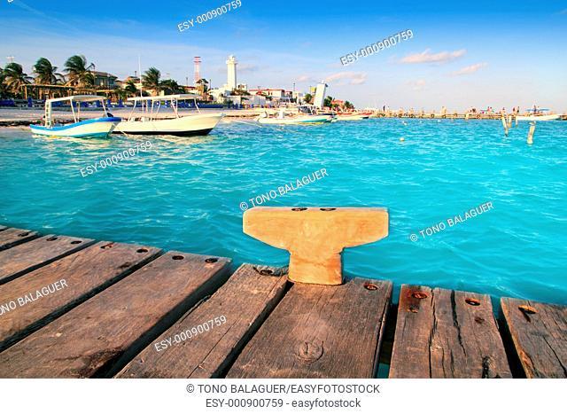 Puerto Morelos beach boats pier Mayan Riviera Mexico