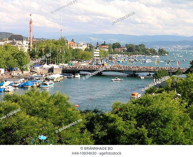Switzerland, Europe, Zurich City, Zuri Fascht, Festival, Zurich-Fest, overview, from above, high angle, River Limmat
