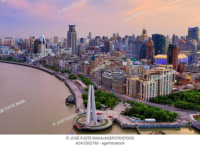 China, Shanghai City,The Bund and Huangpu River