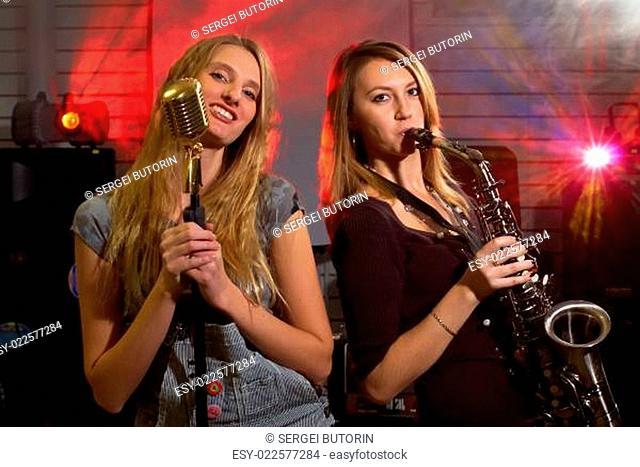 Pretty women on rock concert