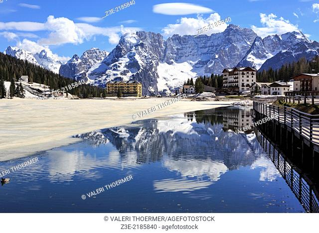 Misurina lake at springtime in South Tirol, Italy