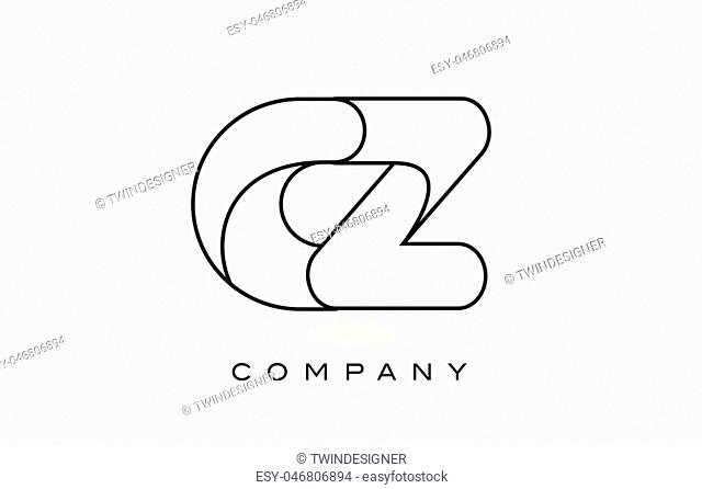 CZ Monogram Letter Logo With Thin Black Monogram Outline Contour. Modern Trendy Letter Design Vector Illustration