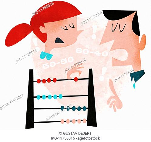Couple using abacus arguing about percent share