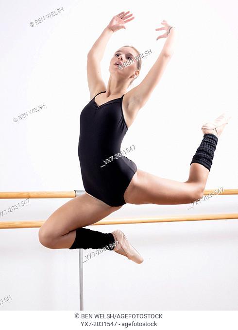 Teenager doing ballet