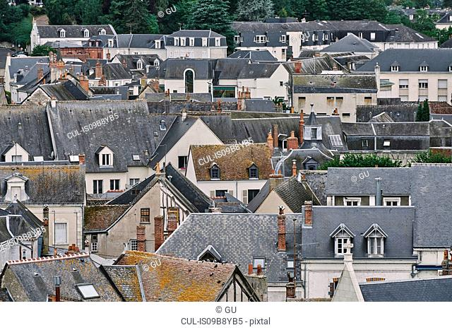 Elevated view of traditional townhouses and rooftops, Amboise, Loire Valley, France