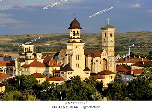 Romania, Transylvania, Carpathians mountains, Alba Iulia, the citadel, the cathedral of the orthodox archdiocese and the St Michel cathedral