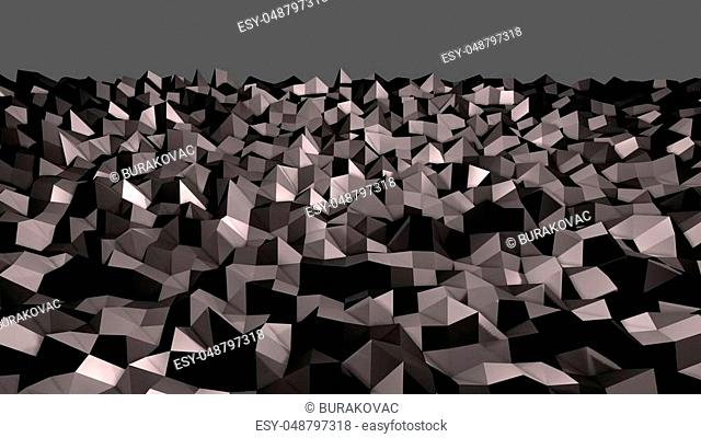 3d render of abstract geometric background with modern gradient colors in low poly style. 3d surface with nice gradient