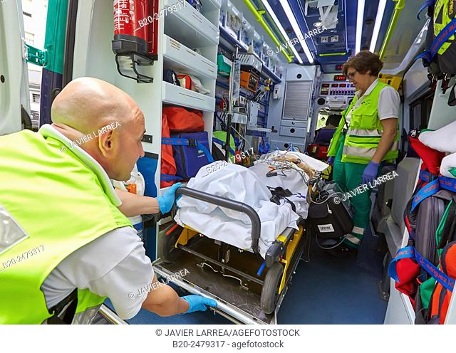 Patient transfer stretcher, Medicalized ambulance, Emergency room, Hospital Donostia, San Sebastian, Gipuzkoa, Basque Country, Spain