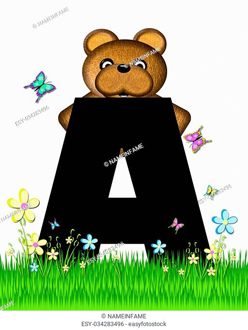 """The letter A, in the alphabet set """"""""Teddy Butterfly Field,"""""""" is black. Teddy bear chases colorful butterflies across a grassy field with wildflowers"""