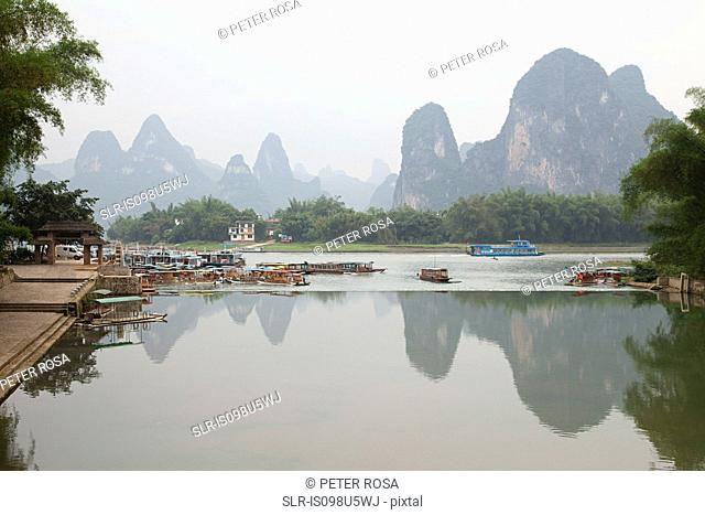 China, guangxi province, xingping and karst landscape