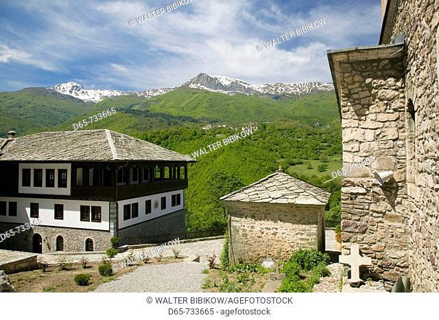 Macedonia. Mavrovo National Park. Sveti Jovan Bigorski Monastery (b.1020) named after St. John the Baptist. Exterior/Landscape