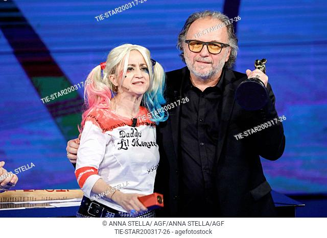 Luciana Littizzetto, Alessandro Bertolazzi, winner Academy Award 2017 make up film Suicide squad  during the tv show Che tempo che fa, Milan, ITALY-19-03-2017
