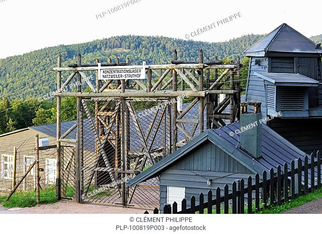 Entrance gate of Natzweiler-Struthof, the only concentration camp established by the Nazis on French territory, Alsace, France