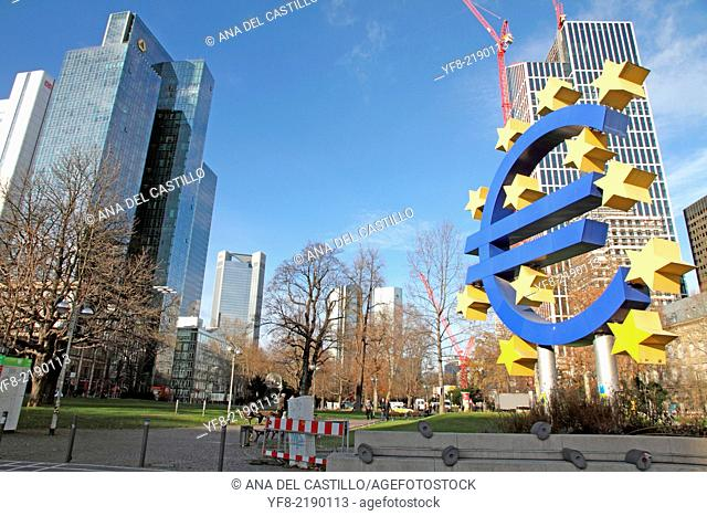 EURO logo in Frankfurt am Main Germany