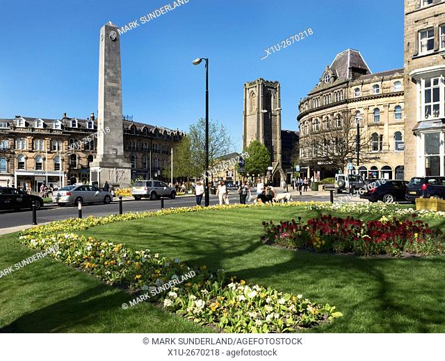 War Memorial and St Peters Church in Harrogate in Spring North Yorkshire England