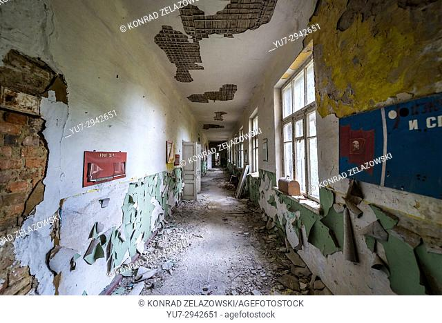 Corridor in old secondary school in Mashevo abandoned village of Chernobyl Nuclear Power Plant Zone of Alienation in Ukraine