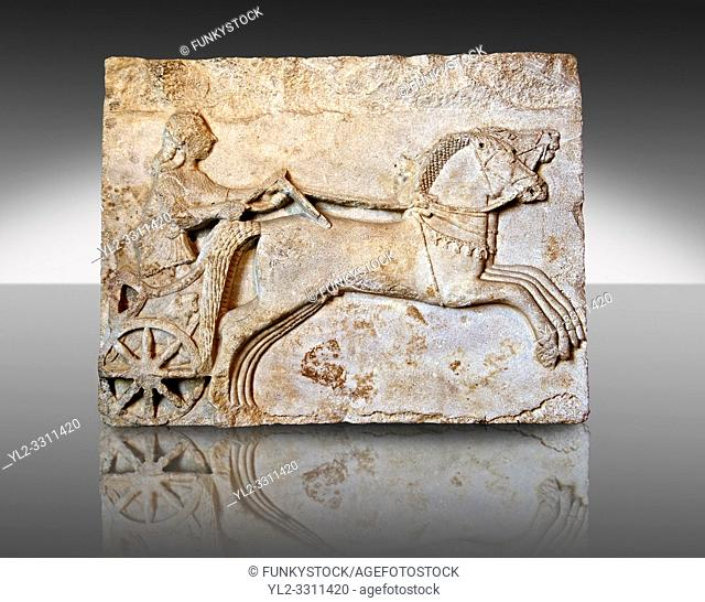 Late Greek Archaic relief sculpture in Proconnesian Marble of a charioteer ( Last quarter 6th Cent. B. C) From Cyzicus, ( Erdek formerly Artàke, Î'Ï