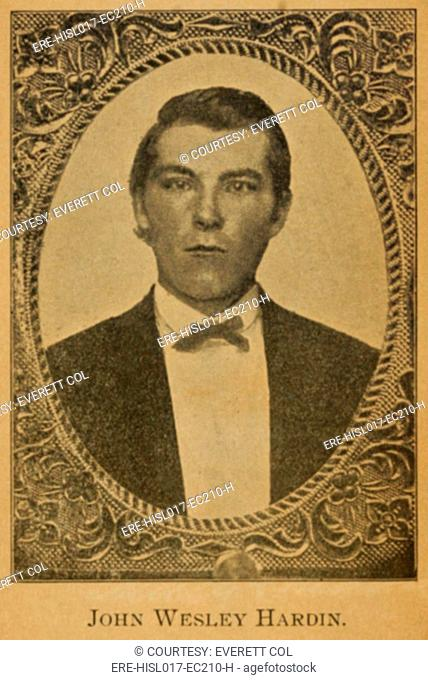 John Wesley Hardin 1853-1895, claimed to have killed 42 men. Portrait from his autobiography, THE LIFE OF JOHN WESLEY HARDIN, 1896