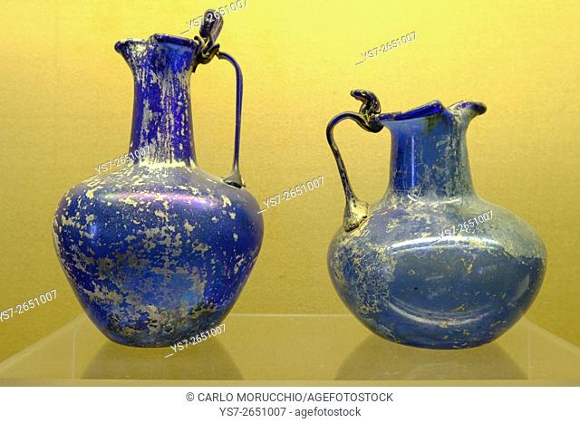 Blue glass vases from Pompeii, Naples National Archaeological Museum, Naples, Italy, Europe
