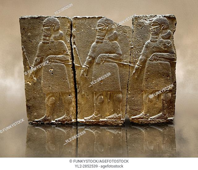 Sculpted Assyrian relief panels of mace bearers from Hadatu ( Aslantas ) around 800 B. C. Istanbul Archaeological museum Inv No. 14-10