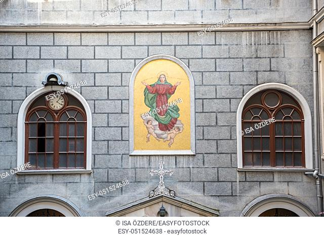 Entrance upper facede view of Church of St. Mary Draperis,a Roman Catholic Church built in 1584 in Beyoglu,Istanbul,Turkey. 25 July 2019