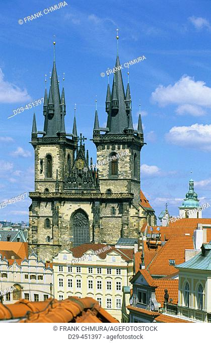 Old Town Square, Tyn Church. Prague. Czech republic