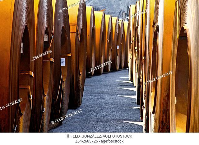 Steel reel at Aviles harbor, Aviles, Asturias, Spain