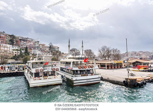 Pier of Uskudar locates at Asian side of Bosphorus in Istanbul,Turkey. 03 January 2018