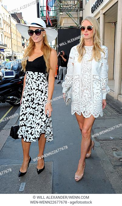 Paris Hilton enjoys lunch at The Arts Club in Mayfair, with sister Nicky Hilton. The pair then had a stroll around Mayfair