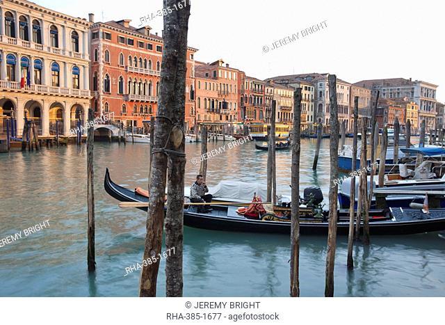 Evening light shines onto building lining the Grand Canal by the Rialto Bridge, Venice, UNESCO World Heritage Site, Veneto, Italy, Europe