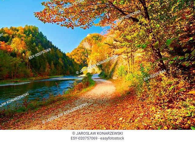 Autumn landscape with The Dunajec River Gorge. Pieniny Mountains