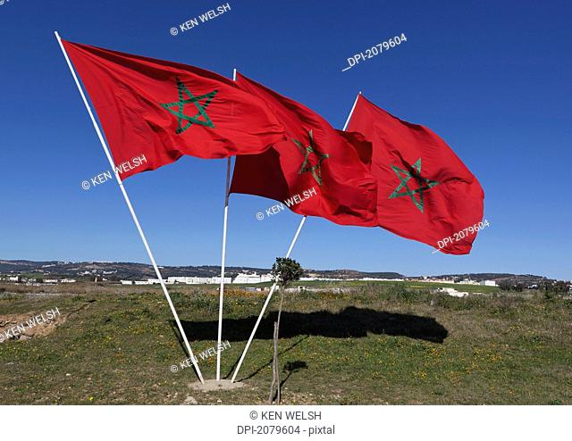 Three moroccan flags, morocco