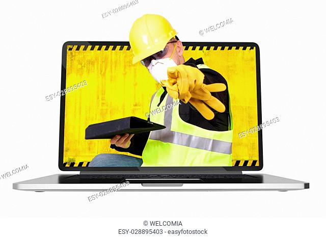 Contractor Coming Out of Computer Screen Pointing on You. Construction Online Concept. Illustration Isolated on White