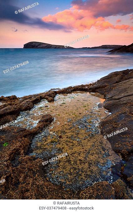 Amazing seascape sunset, Sonabia, Cantabria, Spain