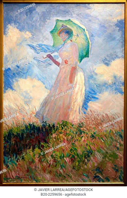 Study of a figure outdoors, woman with a parasol turned to the left, 1886, by Claude Monet (1840-1926), oil on canvas, 131x89 cm. Musée d'Orsay